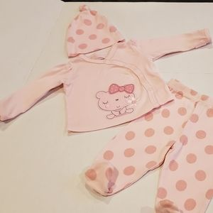 Infant girls pink outfit with matching beanie